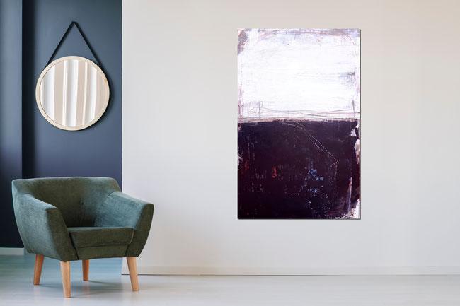 schwarz weiß grosses Gemälde