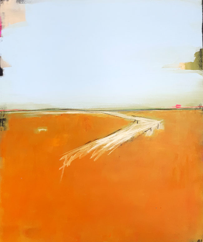 abstraktes Landschafts-Bild in orange gelb grün hellblau