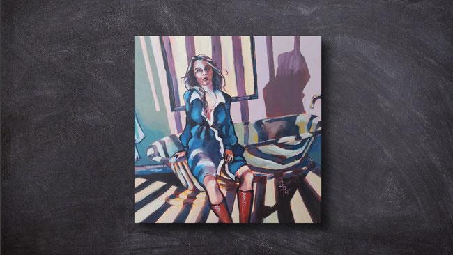 Rita Galambos, fine artist, prison of emotions, contemporary painting, woman, bathroom, blue, bath, symbol, pandemie, lockdown, acrilic on canvas, artwork, hungarian artist, feldkirch, vorarlberg, austria