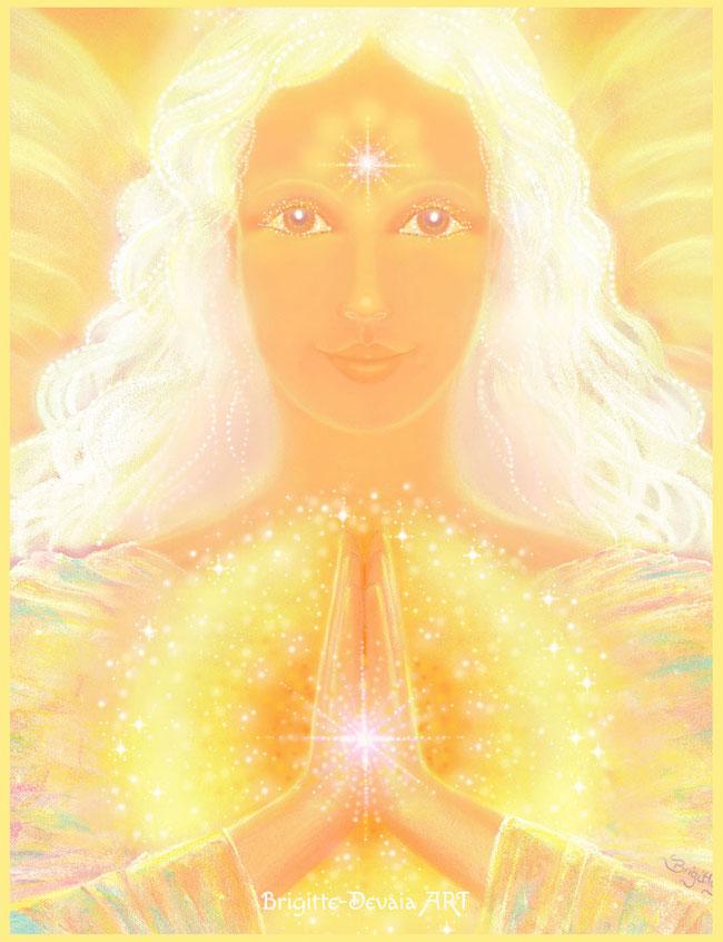 Betender Engel (Bildausschnitt) von Brigitte-Devaia ART