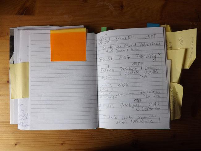 Notizen, während der Recherchen im Bundesarchiv Berlin. Und ein vergilbter Post It-Zettel!