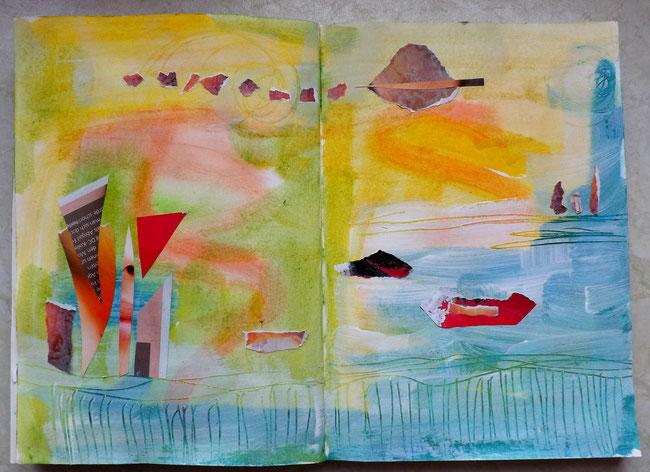 Collage im Sonnenschein am See