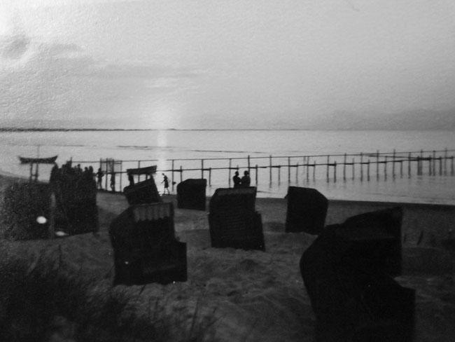 Abendstimmung am Meer, altes Foto
