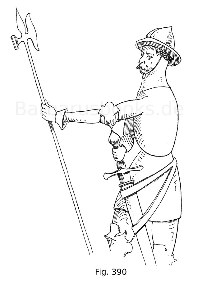 Fig. 390. Kriegsmann mit Helmbarte aus der Zeit König Johanns I. in einem Basrelief der Kirche St. Leu in Paris. 14. Jahrhundert. Nach Jacquemin. Hellebarde