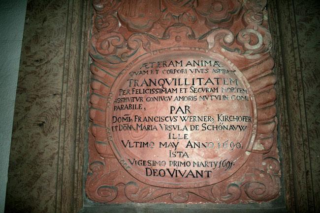 Das Grabmal von Franz Werrner Kirchhofer und Maria Ursula von Schönau, der historischen Vorlage für das Trompeterepos ( Bild: Hans - Martin Vögtle )