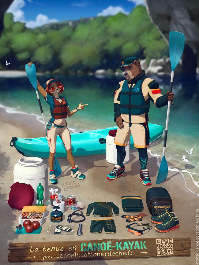 La tenue et le matériel necessaire à la pratique du canoë kayak, pour que votre descente de rivière soit un plaisir.