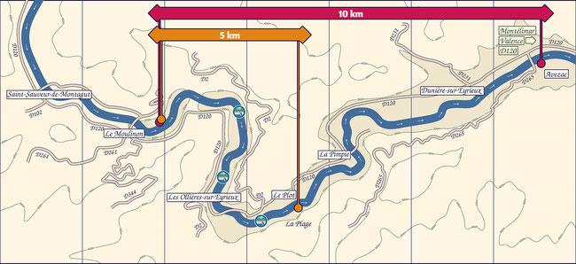 Au départ des Ollières sur Eyrieux en Ardèche. Carte des descentes en canoë kayak de la rivière.