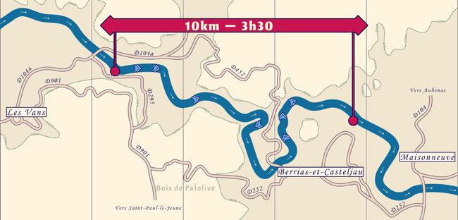 Carte de la descente entre les Vans et Chaulet lors d'une location de Canoë Kayak sur le Chassezac.