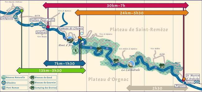 Au départ de Vallon Pont d Arc vous partez directement en Canoë Kayak pour les célèbres Gorges de l Ardèche