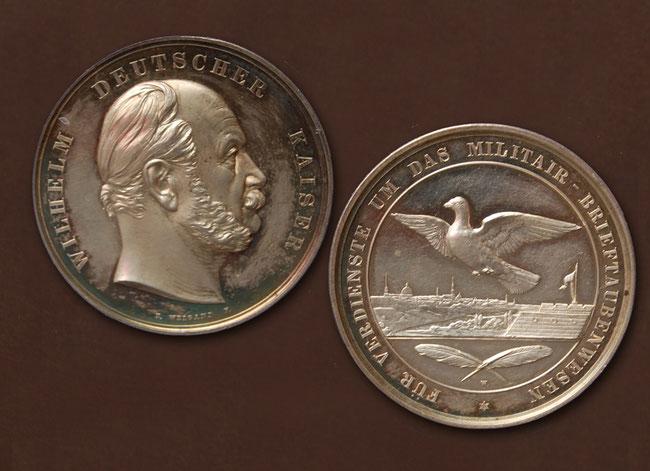 Medaille mit Kaiser Wilhelm für Verdienste um das Militär-Brieftaubenwesen (hier in silber)