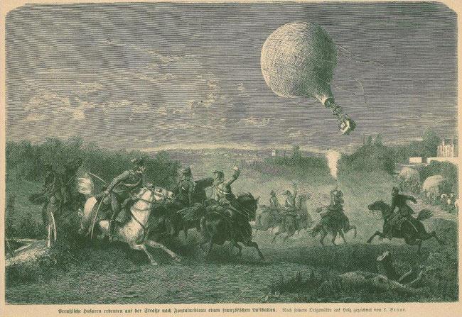 Erbeutung eines französischen Transportballons durch preußische Husaren