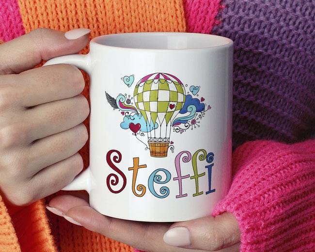 Wohnen & Leben Tassen. Bedruckte Kaffeetasse. Geschenkidee Weihnachten
