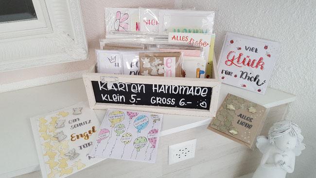 Karten mit viel Liebe getsltet. Gerne sende ich Ihnen die Karten auch zu. Damit Sie Ihren Lieben eine Freude machen können.