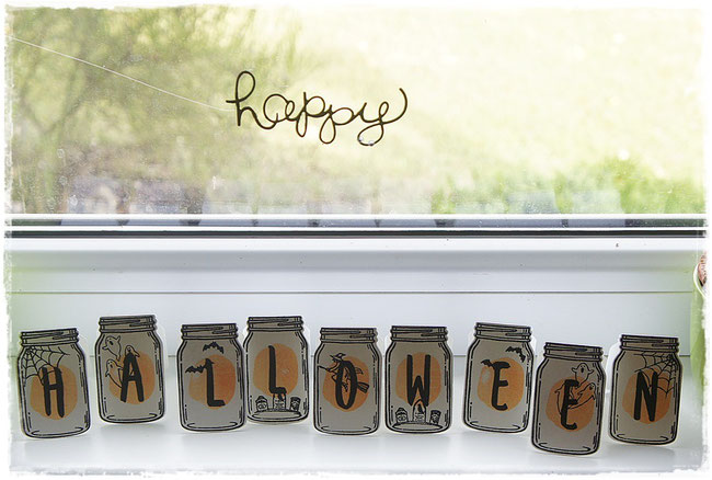 stampin up - halloween-  spooky fun - everyday jars - layered letters alphabet