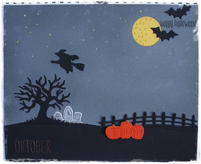 stampin up - halloween -  spooky fun - edgelits halloween szenerie