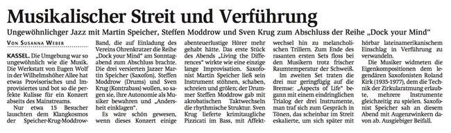 Jazz-Trio Speicher-Krug-Moddrow im Atelier Eugen Wolf, Kassel, 2017: Martin Speicher, Sven Krug, Steffen Moddrow