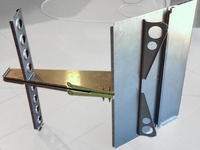 Aluminium-Kabinenrückwand fertiggenietet zur Aufnahme im Monocoque