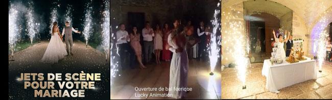 effets spéciaux pour l'entrée du bar mitzvah , mariage jets de scène lucky animation Lyon