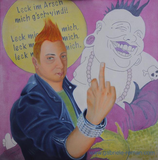 """Amadeus Mozart als Punk mit erhobenen """"Stinkefinger"""". Hinter ihm ist der Originaltext von """"Lasst froh uns sein"""" abgebildet: """"Leck mir den Arsch fein recht schön sauber"""" KV 382d.  Daneben auf der Wand hinter Mozart, Buddha mit Punk-Frisur von  Brad Warner."""