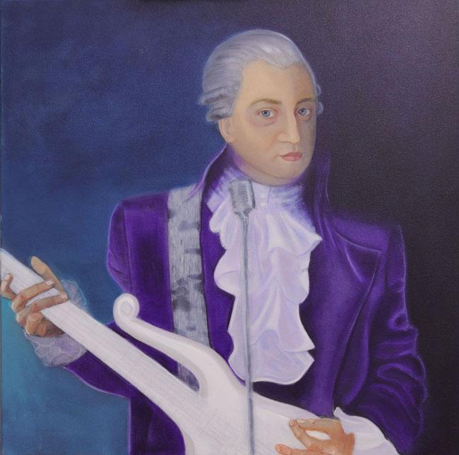 Mozart mit grauer Perücke seiner Zeit, aber mit E-Gitarre und Mikrophon.