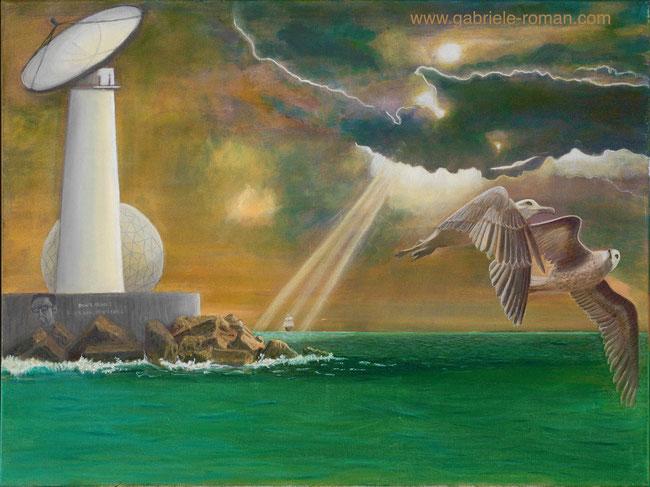 Grünes Meer, dunkler Himmel, Lichtstrahlen, Segelschiff: Im Vordergrund sieht man 2 fliegende Möwen. Am linken Rand einen weißen Leuchtturm mit Radar, dahinter ein Radom. Don´t think, ask, tell!