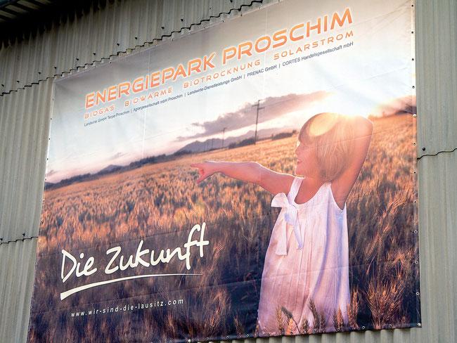 Plakat des Energieparks Proschim