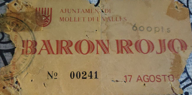 Entrada para el concierto de Barón Rojo en Mollet (documento de Pako Reche)