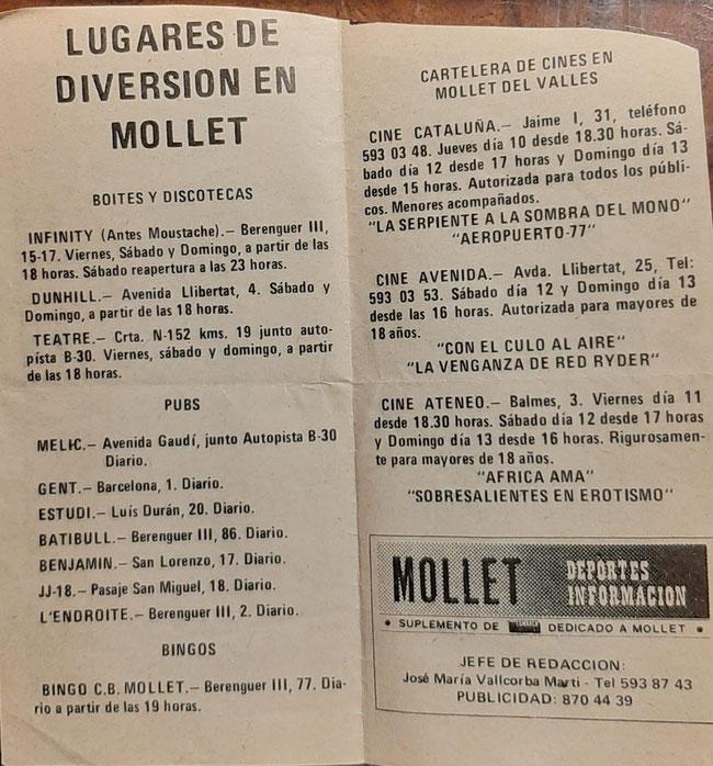 Lista de las discotecas, pubs y cines de Mollet de esa época (documento compartido por José Hidalgo)