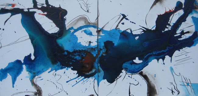 ohne Titel, 2 x 50 x 50 cm, Acrylfabe, Pigmente, Tusche