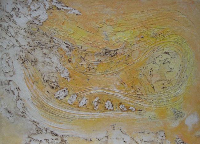 ohne Titel, 100 x 140 cm, Spachtelmasse, Acrylfarbe, Seidenpapier