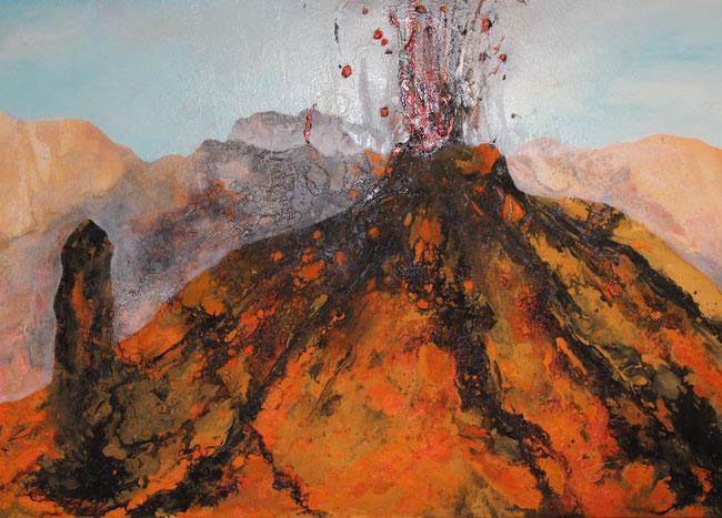 Aus der Reihe: Berge aus Acryl, 100 x 140 cm, Sand, Tusche, Acryl, Pigmente, Lack