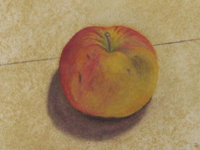 Apfel, Buntstifte auf Ölpastell, DINA5