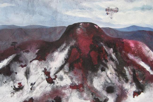 Aus der Reihe: Berge aus Acryl, 60 x 90 cm Spachtelmasse Acrylfarbe, Urgesteinsmehl, Pigmente, Tusche