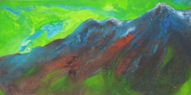 Aus der Reihe: Berge aus Acryl, 50 x 100 cm, Spachtelmasse, Pigmente, Acrylfarbe