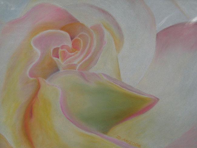 Ausschnitt Rosenknospe, 30 x 40 cm, Pastellkreide