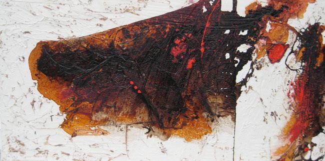 ohne Titel, 50 x 100 cm, Spachtelmasse, Seidenpapier, Acrylfarbe, Pigmente, Schellack