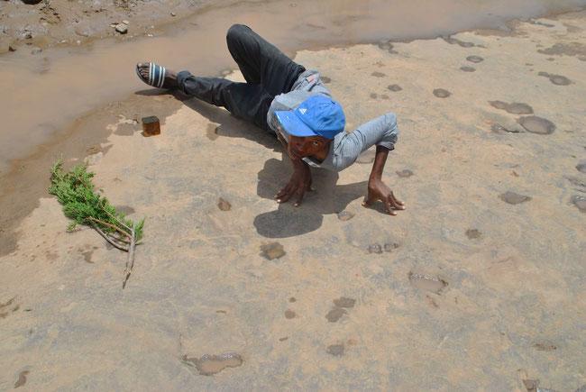 Leribe, Lesotho, Afrika, Dinosaurier, Fossile Fussabdrücke, Afrikaner, Reisen