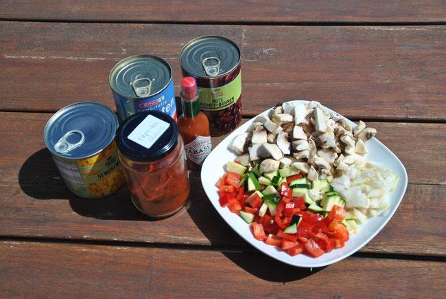 Vegetarisches Chili Zutaten