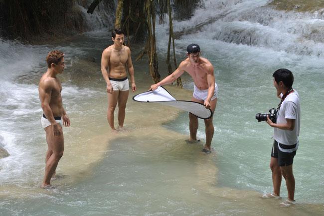 Laos, Models, Male Models, Lao, Fotoshooting, Kuang Si Wasserfall