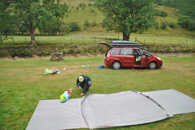 Camping, Wales, Dachbox, Citroen Grand Picasso