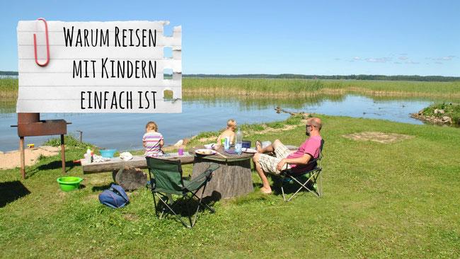 Familienreisen, Reisen mit Kindern, Lettland, See, Camping, Franzls On Tour, franzlsontour, Campingplatz