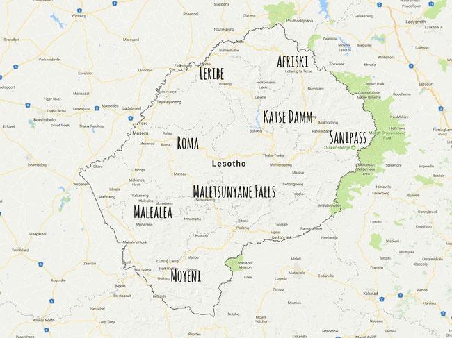 Karte Lesotho, Highlighs Lesotho, Sanipass, Afriski, Malealea, Roma, Maletsunyane