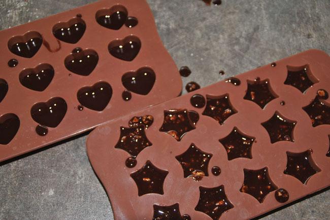 Selbstgemachte Schokolade, Rezept, Silikonbackformen, Pralinenformen
