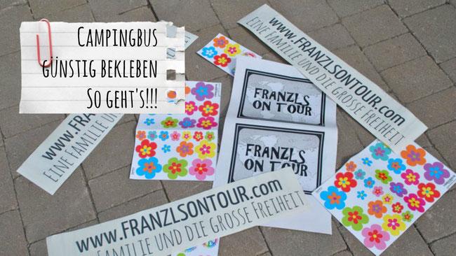 Campingbus, Bus, Auto bekleben, Schrift, Blumen, Hippiebus, Weltreise, Camping, Franzls On Tour, franzlsontour, Familie