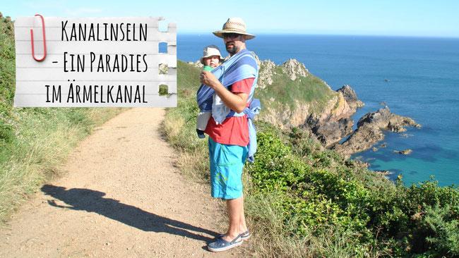 Kanalinseln, Channel Islands, Ärmelkanal, Jersey, Guensey, Herm, Franzls On Tour, franzlsontour, Baby, Tragetuch, Meer, Strohhut