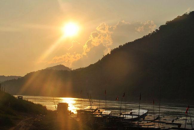 Mekong, Luang Prabang, Sonnenuntergang