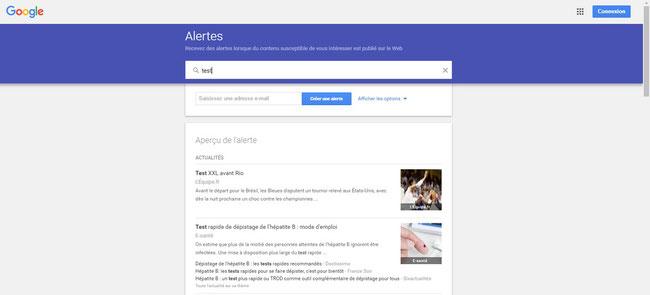 page test google alerte pour le blog internet des TPE d'E-cime.fr