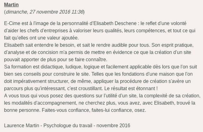avis de Laurence Martin Psychologue du travail sur la création de son site internet avec e-cime.fr