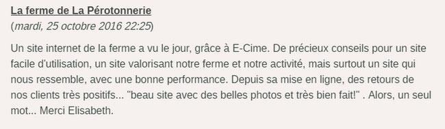 avis de la ferme de la Pérotonnerie sur la création de son site internet avec e-cime.fr