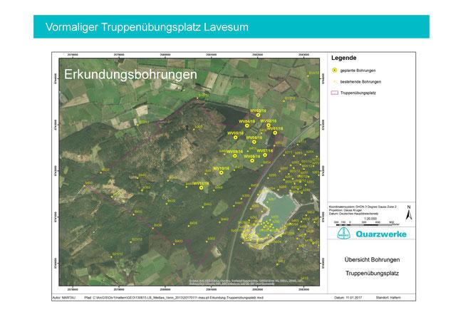 Übersicht der geplanten Probebohrungen auf dem ehemaligen Truppenübungsplatz (mit freundlicher Genehmigung der Quarzwerke GmbH)